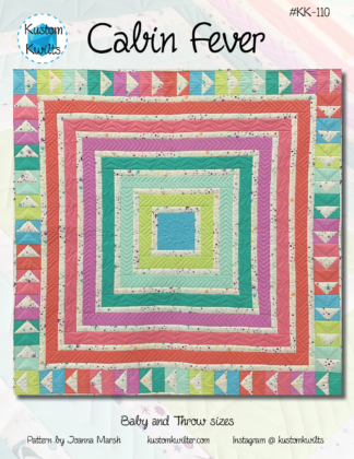 cover of cabin fever quilt pattern with quilt made from bright solid colors
