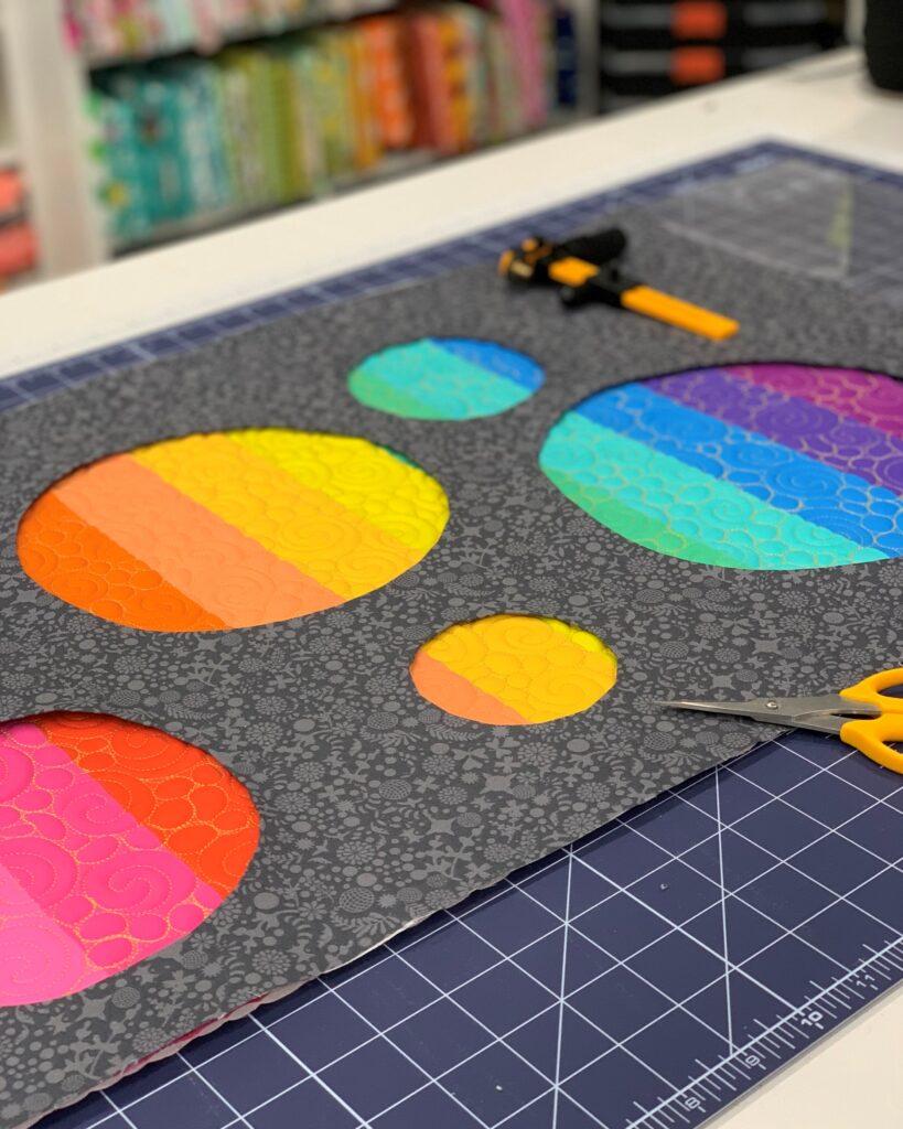 Sunshine Tote reverse applique with rainbow panel