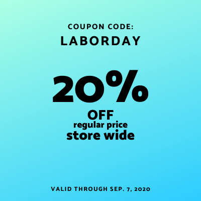 coupon code LABORDAY for 20% off