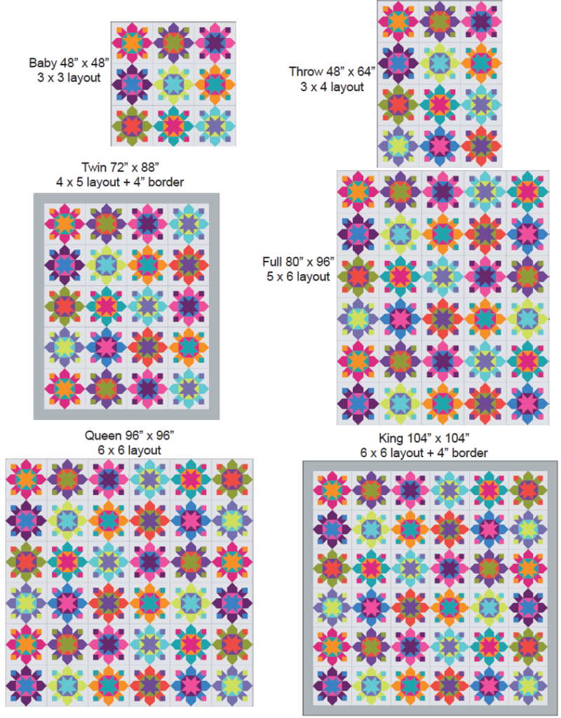 six sizes of kapow quilt