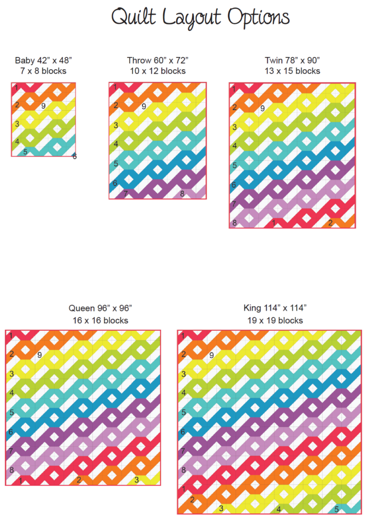 various size options of the hurricane quilt pattern from baby to king size