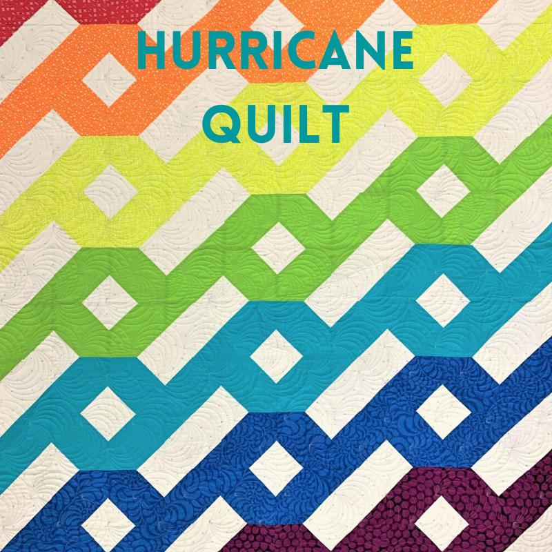 Hurricane quilt in rainbow colors